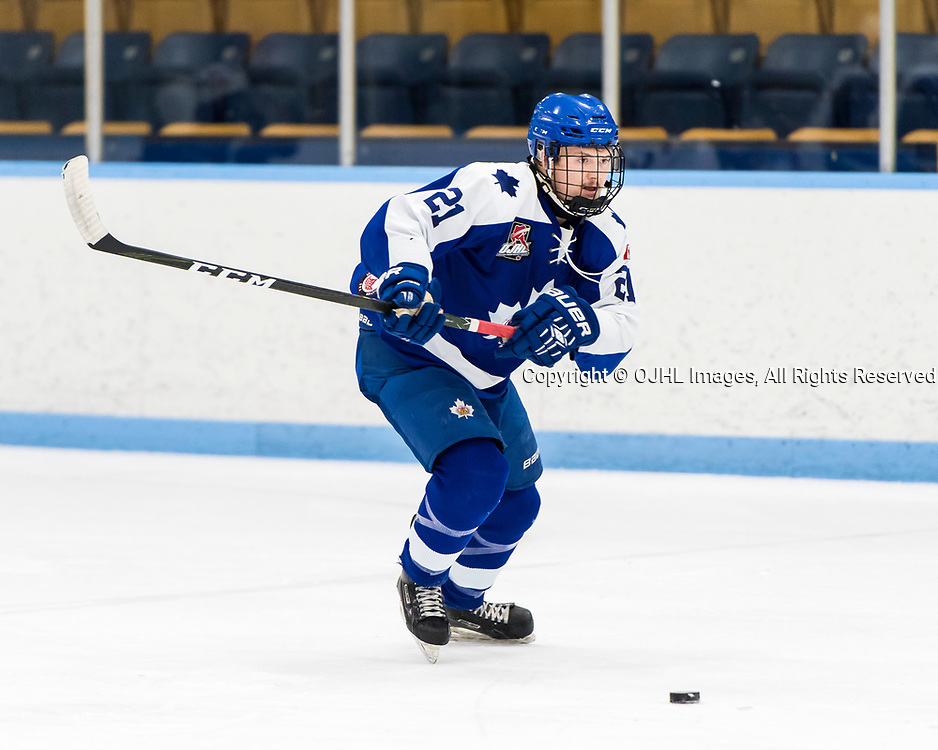 MARKHAM, ON  - NOV 26,  2017: Ontario Junior Hockey League game between the Markham Royals and the Whitby Fury, Justin Bennett #21 of the Markham Royals during the second period.<br /> (Photo by Catherine Kim / OJHL Images)