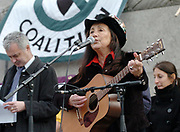 Julie Felix (June 14, 1938 – March 22, 2020 an American-born, British-based folk recording artist who achieved success, particularly on British television in the late 1960s and early 1970s. She later performed and released albums on her own record label.<br /> <br /> Julie Felix <br /> Folk Singer <br /> <br /> Pictured here 24th February 2007 at a Stop The War Rally in Trafalgar Square, London, Great Britain <br /> <br /> <br /> <br /> <br /> Photograph by Elliott Franks