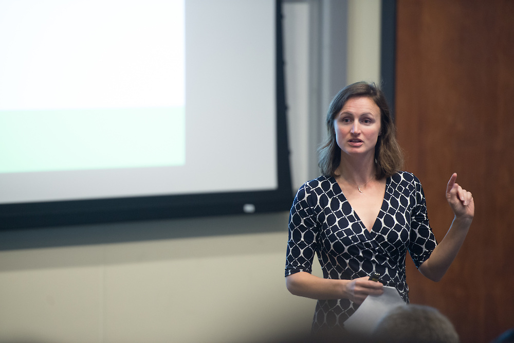 NAME speaks during an intermission at the 3 Minute Thesis Competition held at the Stocker Center on February 15, 2017.