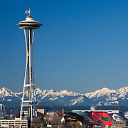 Space Needle, Seattle Center and Olympic Mountains in winter, Seattle, Washington USA