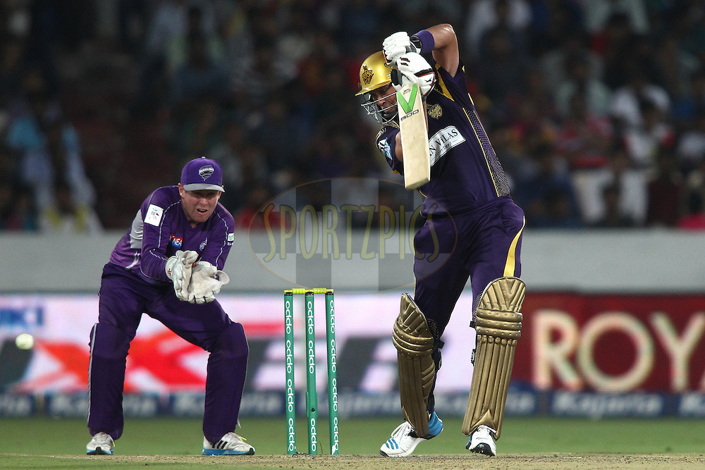 Jacques Kallis of the Kolkata Knight Riders plays a delivery square during the first semi final match of the Oppo Champions League Twenty20 between the Kolkata Knight Riders and the Hobart Hurricanes held at the Rajiv Gandhi Cricket Stadium, Hyderabad, India on the 2nd October 2014<br /> <br /> Photo by:  Shaun Roy / Sportzpics/ CLT20<br /> <br /> <br /> Image use is subject to the terms and conditions as laid out by the BCCI/ CLT20.  The terms and conditions can be downloaded here:<br /> <br /> http://sportzpics.photoshelter.com/gallery/CLT20-Image-Terms-and-Conditions-2014/G0000IfNJn535VPU/C0000QhhKadWcjYs
