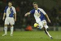 Photo: Aidan Ellis.<br /> Blackburn Rovers v Bayer Leverkusen. UEFA Cup, 2nd Leg. 22/02/2007.<br /> Rovers Morten Gamst Pedersen puts an early free kick over the bar