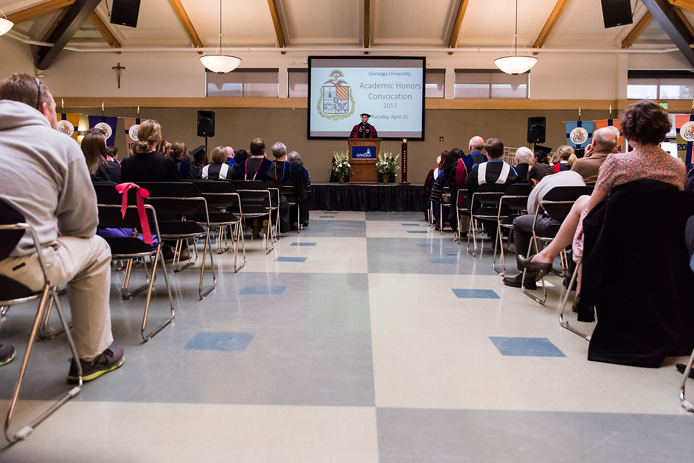 Honors students and faculty convened for the  Academic Honors Convocation in the Cataldo Hall Globe Room on April 25th, 2017 to celebrate the students achievements. (Photo by Edward Bell)