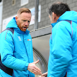TELFORD COPYRIGHT MIKE SHERIDAN 19/1/2019 - Gavin Cowan greets Kidderminster's coaching staff during the Vanarama Conference North fixture between AFC Telford United and Kidderminster Harriers