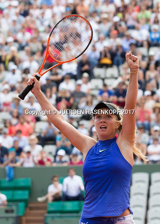 ELINA SVITOLINA (UKR) streckt die Arme hoch und jubelt,Jubel,Emotion,<br /> <br /> Tennis - French Open 2017 - Grand Slam / ATP / WTA / ITF -  Roland Garros - Paris -  - France  - 5 June 2017.