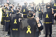 People hold signs containing names of victims of Sewol ferry disaster as they stage a silent protest on the eve of the third anniversary of Sewol ferry disaster in Seoul, South Korea, Apr 15, 2017. The Sewol Ferry sank off South Korea's southwestern coast near Jindo on April 16, 2014 during a journey from Incheon to Jeju. The Ferry was carrying 475 crew and passengers, mostly high school students on a school trip. More than 300 people died and nine are still missing. The Sewol was built in Japan in 1994 and it was decommissioned ship already when South Korea imported it from Japan in late 2012. South Korean government led by at the time President Lee Myung-Bak increased the maximum ship age from 20 to 30 years in 2009 as part of a drive to relax regulations, local media reported. Photo by Lee Jae-Won (SOUTH KOREA) www.leejaewonpix.com
