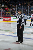 KELOWNA, BC - JANUARY 8: Line official Jade Portwood stands on the ice at the Kelowna Rockets and the Victoria Royals at Prospera Place on January 8, 2020 in Kelowna, Canada. (Photo by Marissa Baecker/Shoot the Breeze)