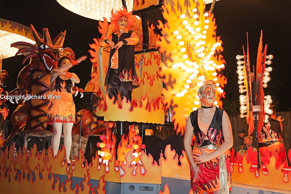Rear closeup of Fire and Ice by HOt Rock Carnival Club at the 2011 Glastonbury Chilkwell Guy Fawkes Carnival.