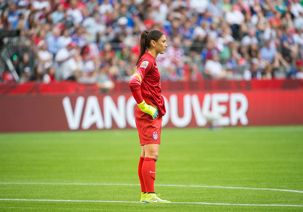 Goalkeeper Hope Solo of team USA in 2015 women's World Cup Soccer in Vancouver during the first round action between USA and Nigeria.