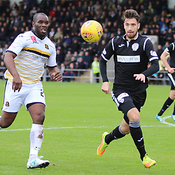 Christian Nade and Gregor Buchanan watch the ball during the Dumbarton v St Mirren Scottish Championship 14 October 2017<br /> <br /> <br /> <br /> <br /> <br /> (c) Andy Scott | SportPix.org.uk