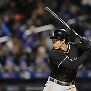 NEW YORK, NEW YORK - APRIL 12: Christian Yelich, Miami Marlins, batting during the Miami Marlins Vs New York Mets MLB regular season ball game at Citi Field on April 12, 2016 in New York City. (Photo by Tim Clayton/Corbis via Getty Images)