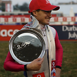 Winning (Jockey) Bernard Fayd'Herbe during RACE 7 THE VODACOM DURBAN JULY (Grade 1) - 2200m – R4 250 000 at THE VODACOM DURBAN JULY at Greyville Racecourse in Durban, South Africa on 1st July 2017<br /> Photo by:  Steve Haag Sports