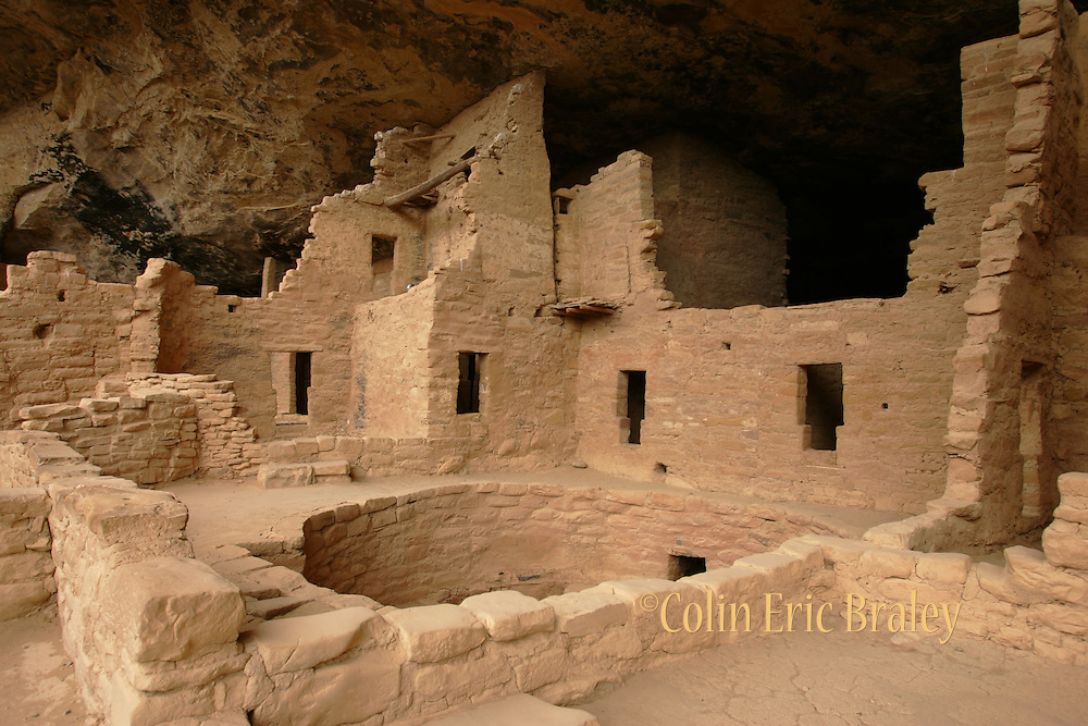 Spruce Tree House, the third largest cliff dwelling in Mesa Verde National Park in Colorado, was constructed between 1211 and 1278 A.D. by the ancestors of the Puebloan people of the Southwest.