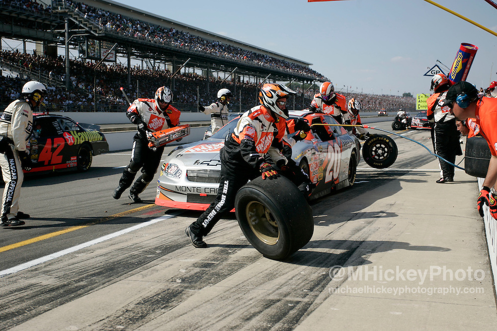 Tony Stewart charged up the field but was never able to contend for the win in the Brickyard 400