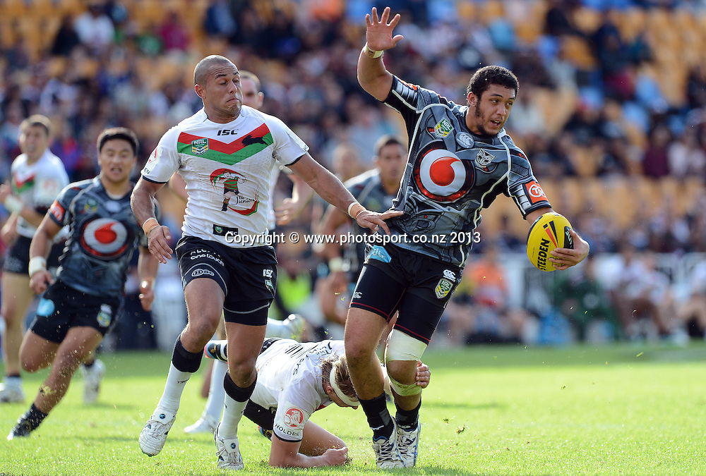 Adam Tuimavave-Gerrard takes the ball up for the Warriors. Holden Cup Rugby League match, Vodafone Junior Warriors v Junior Rabbitohs at Mt Smart Stadium, Auckland, New Zealand on Sunday 7 April 2013. Photo: Andrew Cornaga/Photosport.co.nz