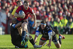 December 9, 2018 - Limerick, Ireland - JJ Hanrahan of Munster in action with the ball during the Heineken Champions Cup Round 3 match between Munster Rugby and Castres Qlympique at Thomond Park Stadium in Limerick, Ireland on December 9, 2018  (Credit Image: © Andrew Surma/NurPhoto via ZUMA Press)