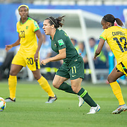 GRENOBLE, FRANCE June 18.  Lisa De Vanna #11 of Australia defined by Sashana Campbell #12 of Jamaica during the Jamaica V Australia, Group C match at the FIFA Women's World Cup at Stade des Alpes on June 18th 2019 in Grenoble, France. (Photo by Tim Clayton/Corbis via Getty Images)