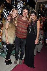 Left to right, MARY CHARTERIS, MAX MONTGOMERY and MARISSA MONTGOMERY at the Mulberry Spring/Summer 2012 - London Fashion Week afterparty held at Claridge's, Brook Street, London on 18th September 2011.