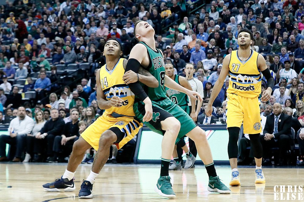 10 March 2017:  Boston Celtics forward Jonas Jerebko (8) vies for the rebound Denver Nuggets guard Gary Harris (14) during the Denver Nuggets 119-99 victory over the Boston Celtics, at the Pepsi Center, Denver, Colorado, USA.