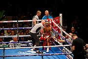 Kid Galahad and his corner during the IBF World Featherweight Championship between Josh Warrington and Kid Galahad at First Direct Arena, Leeds, United Kingdom on 15 June 2019.