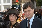 Zijne Hoogheid Prins Floris van Oranje Nassau, van Vollenhoven en mevrouw mr. A.L.A.M. S&ouml;hngen zijn zaterdag 22 oktober in de kerk van Naarden in het  huwelijk getreden. De prins is de jongste zoon van Prinses Magriet en Pieter van Vollenhoven.<br /> <br /> Church Wedding Prince Floris and Aim&eacute;e S&ouml;hngen. <br /> <br /> Church Wedding Prince Floris and Aim&eacute;e S&ouml;hngen in Naarden. The Prince is the youngest son of Princess Margriet, Queen Beatrix's sister, and Pieter van Vollenhoven. <br /> <br /> Op de foto / On the photo;<br /> <br /> President Balkenende en zijn vrouw