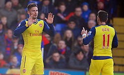 LONDON, ENGLAND - Saturday, February 21, 2015: Arsenal's Oliver Giroud celebrates scoring the second goal against Crystal Palace during the Premier League match at Selhurst Park. (Pic by David Rawcliffe/Propaganda)