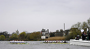 Putney, GREAT BRITAIN,   Umpire John GARRETT with his flag raised warns Cambridge as both crews appraoch Chiswich Eyot during the annual University Boat Race,  Oxford going on to win the race over the 'Championship Course' Putney to Mortlake, on the River Thames, Sat 29.03.2008 [Mandatory Credit, Peter Spurrier / Intersport-images Varsity Boat Race, Rowing Course: River Thames, Championship course, Putney to Mortlake 4.25 Miles,