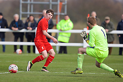LIVERPOOL, ENGLAND - Saturday, April 9, 2016: Liverpool's Ben Woodburn in action against Everton during the FA Premier League Academy match at Finch Farm. (Pic by David Rawcliffe/Propaganda)