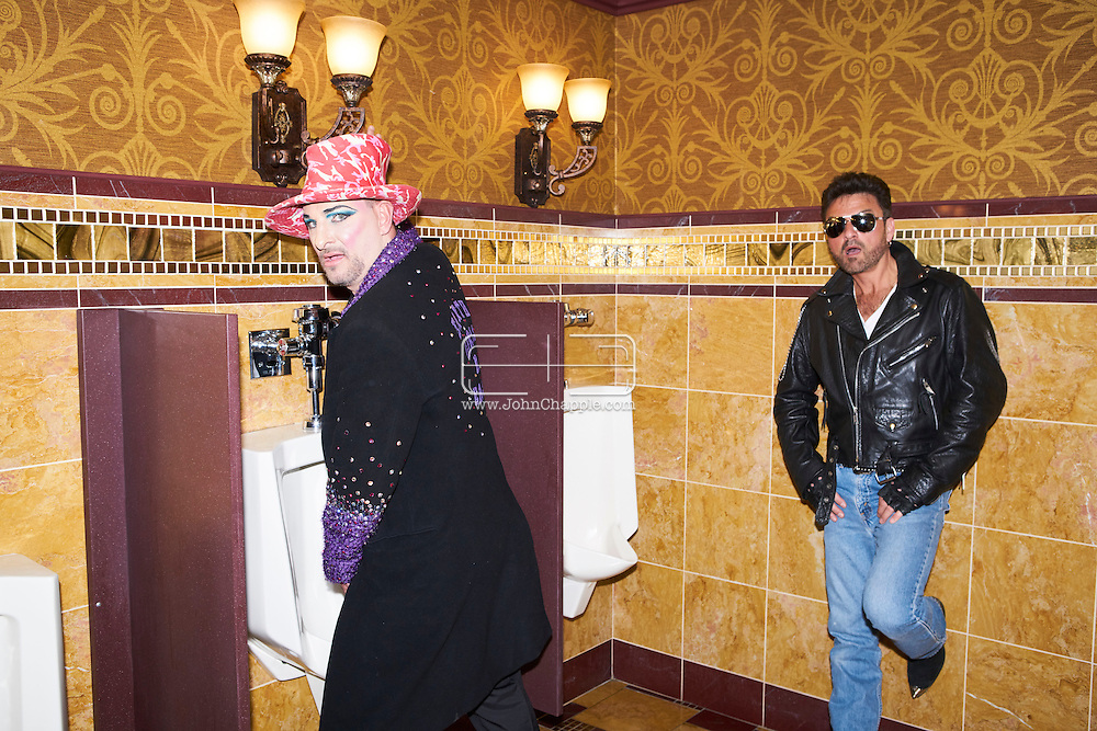 February 22, 2016. Las Vegas, Nevada.  The 22nd Reel Awards and Tribute Artist Convention in Las Vegas. Celebrity lookalikes from all over the world gathered at the Golden Nugget Hotel for the annual event. Pictured is Keith George as British singer, Boy George and George Michael lookalike, Bill Pantazis.<br /> Copyright John Chapple / www.JohnChapple.com /