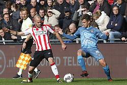 (L-R), Jorrit Hendrix of PSV, Reuven Niemeijer of Heracles Almelo during the Dutch Eredivisie match between PSV Eindhoven and Heracles Almelo at the Phillips stadium on October 22, 2017 in Eindhoven, The Netherlands
