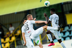 Klemen Nemanic of Tabor Sezana and Cedric Yameogo Guy Serge of Tabor Sezana during football match between NK Domzale and NK CB24 Tabor Sezana in 31st Round of Prva liga Telekom Slovenije 2019/20, on July 3, 2020 in Sports park, Domzale, Slovenia. Photo by Vid Ponikvar / Sportida
