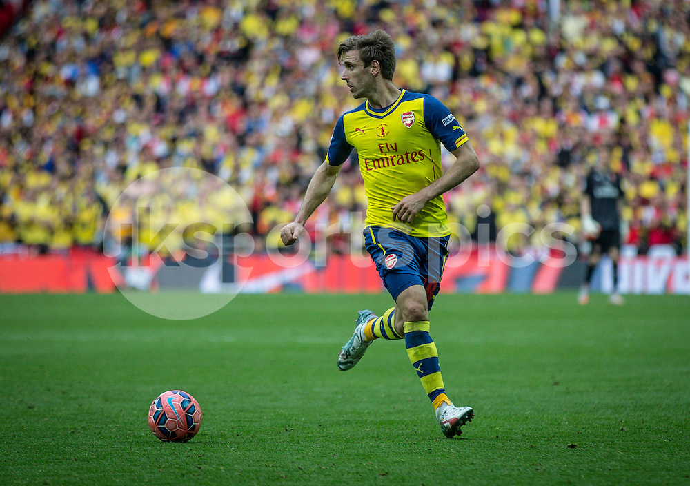 Nacho Monreal of Arsenal during the The FA Cup Final match between Arsenal and Aston Villa at Wembley Stadium, London, England on 30 May 2015. Photo by Liam McAvoy.