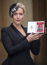 Actress Kate Winslet with her CBE for services to drama, at Buckingham Palace in London, Wednesday, 21st November  Photo by: i-Images