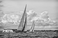 ENGLAND, Isle of Wight. 21st June 2012. J Class Solent Regatta. Hundred Guinea Cup. Lionheart, H1 (foreground) and Velsheda, K7 off Culver Down.
