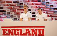 Joe Hart of England (L) and Wayne Rooney of England (R) during the England press conference at Estádio Claudio Coutinho, Rio de Janeiro<br /> Picture by Andrew Tobin/Focus Images Ltd +44 7710 761829<br /> 21/06/2014
