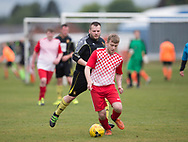 Stobswell AFC (red and white) v Fife Thistle (black) in the Dundee Saturday Morning Football League at University Grounds, Riverside, Dundee, Photo: David Young<br /> <br />  - &copy; David Young - www.davidyoungphoto.co.uk - email: davidyoungphoto@gmail.com