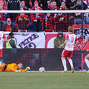 Goalkeeepr Luis Robles, New York Red Bulls, makes a fine save during the New York Red Bulls Vs D.C. United Major League Soccer regular season match at Red Bull Arena, Harrison, New Jersey. USA. 22nd March 2015. Photo Tim Clayton