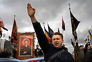 "Russian Neo-Nazis chant ""sieg heil"" in Moscow during a demonstration to celebrate Hitlerís birthday. Russia is experiencing a surge of extremism, sometimes resulting in violent attacks on foreigners."