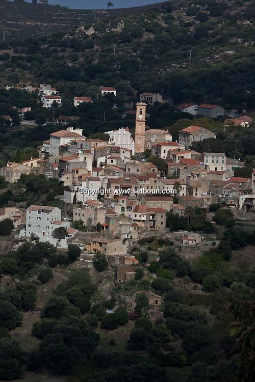Corsica. France. Aregno, perched Village in Balagne area, Corsica North, France