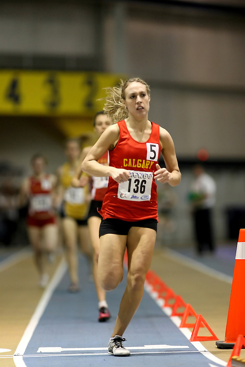 Windsor, Ontario ---14/03/09--- Heather Sim of  the University of Calgary competes in the Women's 1500m Final at the CIS track and field championships in Windsor, Ontario, March 14, 2009..Sean Burges Mundo Sport Images