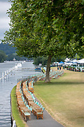 Henley on Thames, England, United Kingdom, Sunday, 07.07.19, GV, General View, early morning, Deckchairs, Steward's Enclosure, Henley Royal Regatta,  Henley Reach, [©Karon PHILLIPS/Intersport Images]<br /> <br /> 10:38:00 1919 - 2019, Royal Henley Peace Regatta Centenary,
