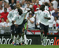 Photo: Lee Earle.<br /> England v Israel. UEFA European Championships Qualifying. 08/09/2007.Shaun Wright-Phillips (L) congratulates Micah Richards after he scored England's third goal.