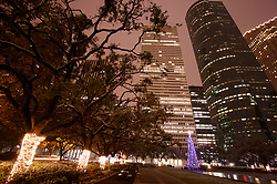 Stock photo of the night view of downtown Houston from the park