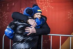 February 13, 2018 - Stockholm, Sweden - OS 2018 i Pyeongchang. Sprint, damer. Stina Nilsson, längdskidÃ¥kare Sverige, vann, grattas av Johan Sares, chef längdskidförbundet, tävling action landslaget guld (Credit Image: © Orre Pontus/Aftonbladet/IBL via ZUMA Wire)