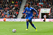 Demarai Gray (7) of Leicester City on the attack during the Premier League match between Bournemouth and Leicester City at the Vitality Stadium, Bournemouth, England on 30 September 2017. Photo by Graham Hunt.