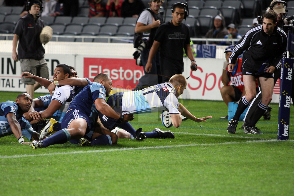 Drew Mitchell dives over to score a try. Investec Super Rugby - Blues v Waratahs, Eden Park, Auckland, New Zealand. Saturday 16 April 2011. Photo: Clay Cross / photosport.co.nz