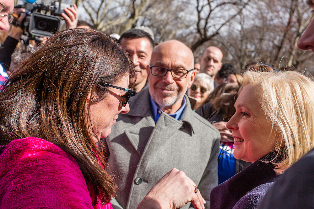 New York, NY - 24 March 2019. Senator Kirsten Gillibrand (D-NY) held a presidential campaign rally on New York's Central Park West in Front of the Trump Hotel  and Tower. Gilllibrand in the crowd at the rope line.