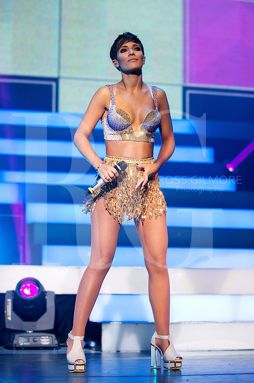 GLASGOW, UNITED KINGDOM - SEPTEMBER 07: Frankie Sandford of The Saturdays performs on stage at Clyde Auditorium on September 7, 2014 in Glasgow, United Kingdom. (Photo by Ross Gilmore
