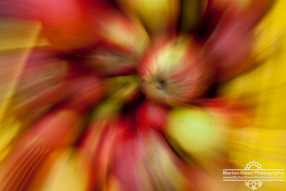 Swirling effect on apples at Pike Place Market in Seattle, Washington.