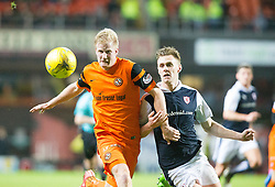Dundee United's Thomas Mikkelsen and Raith Rovers Kyle Benedictus. half time : Dundee United 1 v 0 Raith Rovers, Scottish Championship game played 4/2/2017 at Dundee United's stadium Tannadice Park.